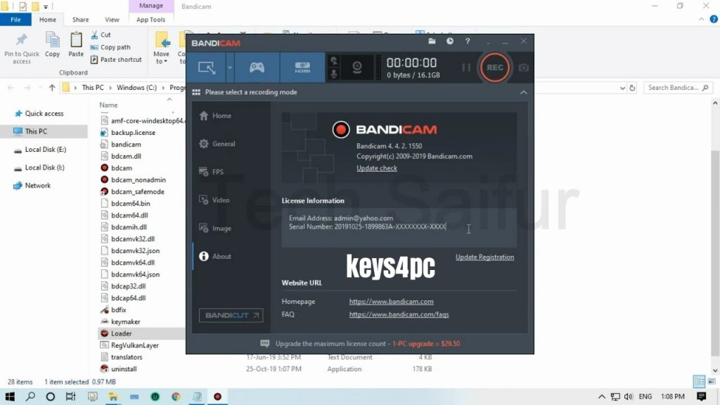Bandicam 5.1.0 Build 1822 With Crack | Serial Number | 2021